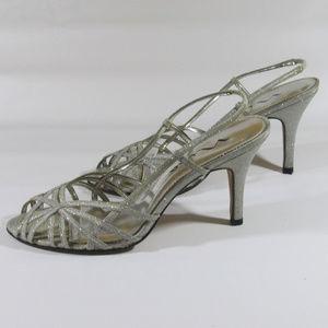 Nina Shoes - Womens Nina Size 9 1/2 Silver Glitter Heels